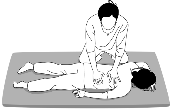 Illustration de la posture de massage en position allongée pour NuadSen, centre de massage thaï traditionnel Nuad Boran à Marseille