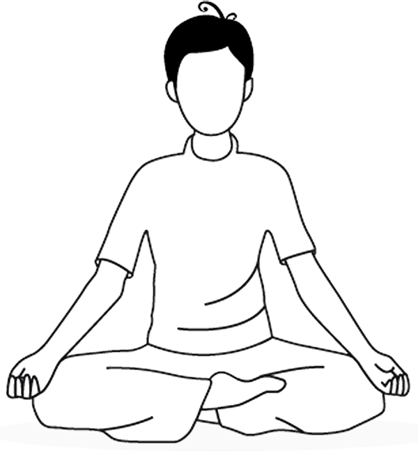 Illustration de la posture de méditation en tailleur pour NuadSen, centre de massage thaï traditionnel Nuad Boran à Marseille